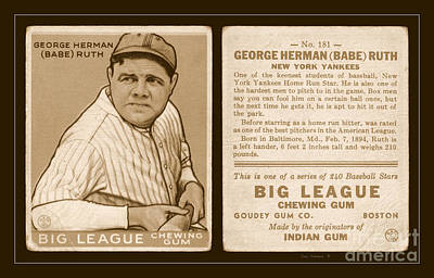 Photograph - Babe Ruth 1933 Baseball Card by John Stephens