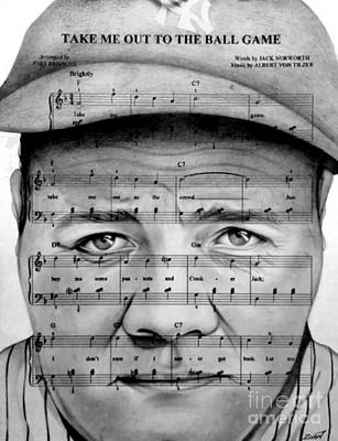 Babe Ruth Drawing - Babe Ruth by Alan Zinn