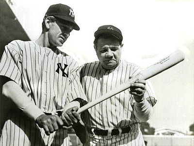 Old Pitcher Photograph - Babe Ruth And Lou Gehrig by Jon Neidert
