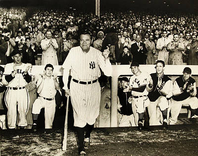 Mickey Mantle Vintage Photograph - Babe Ruth At Yankee Stadium by Doc Braham