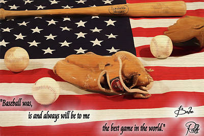 Mixed Media - Babe Ruth Baseball Quote by Dan Sproul