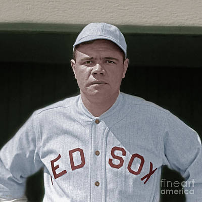 New York Baseball Parks Photograph - Babe Ruth Boston Red Sox Colorized 20170622 Square by Wingsdomain Art and Photography