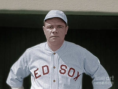 New York Baseball Parks Photograph - Babe Ruth Boston Red Sox Colorized 20170622 by Wingsdomain Art and Photography