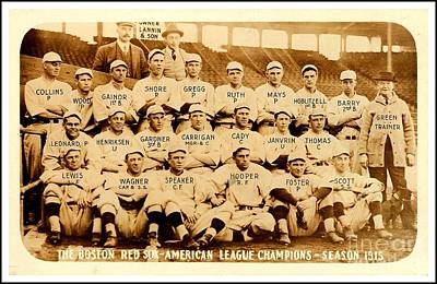 Photograph - Babe Ruth Boston Red Sox American League Champions Season 1915 by Peter Gumaer Ogden
