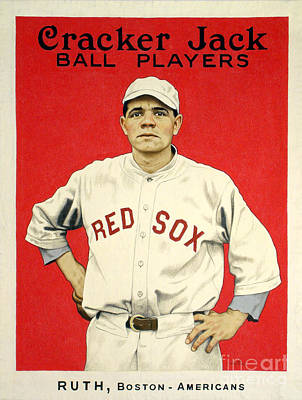 Boston Red Sox Photograph - Babe Ruth Cracker Jack Card by Jon Neidert