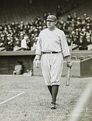 Babe Ruth Vintage Photograph - Babe Ruth Going To Bat by Jon Neidert