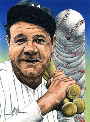 Mixed Media - Babe Ruth by John D Benson