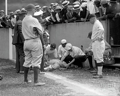 Boston Red Sox Photograph - Babe Ruth Knocked Out By A Wild Pitch by Jon Neidert