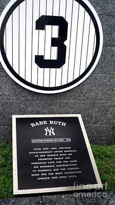 Athletes Royalty-Free and Rights-Managed Images - Babe Ruth Memorial Park Yankee Stadium by Nishanth Gopinathan