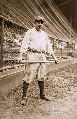 Babe Ruth Vintage Photograph - Babe Ruth On Deck by Jon Neidert