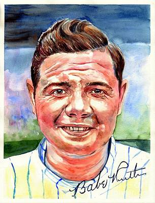 Babes Wall Art - Painting - Babe Ruth Portrait by Suzann's Art