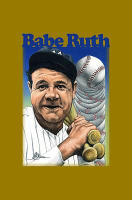 Babe Ruth Drawing - Babe Ruth Shirt by John D Benson