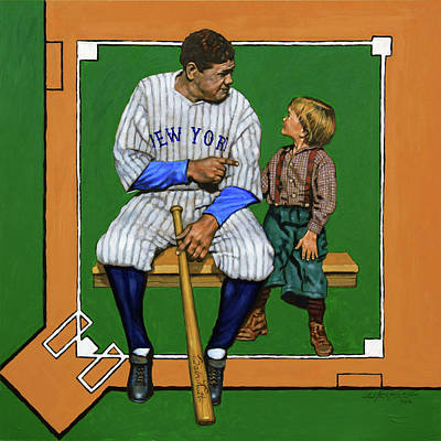 Painting - Babe Ruth Talking Baseball by John Lautermilch