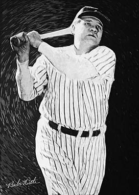 Yankee Stadium Digital Art - Babe Ruth by Taylan Apukovska