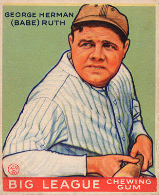 Babe Ruth Baseball Card Painting - Babe Ruth by Vintage Pix