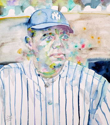 Baseball Players Painting - Babe Ruth - Watercolor Portrait by Fabrizio Cassetta