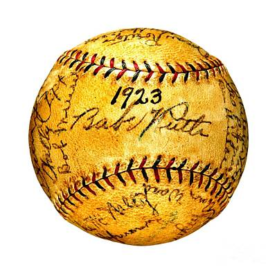 Photograph - Babe Ruth New York Yankees 1923 Team Autographed Baseball by Peter Ogden