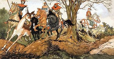 Running Horses Drawing - Babes In The Wood by Jesus Blasco