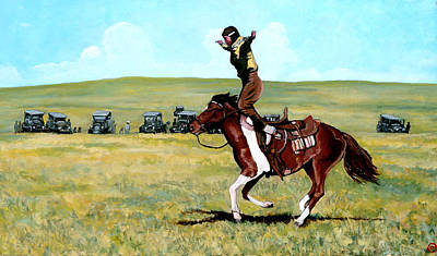 Bucking Bull Painting - Babette Rides Again by Tom Roderick