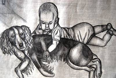 Mixed Media - Baby And Dog by Angela Murray