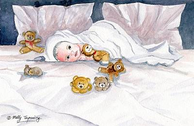 Teddy Bear Watercolor Painting - Baby And Friends by Melly Terpening