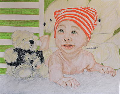 Drawing - Baby And Stuff Bears by Michelle Gilmore