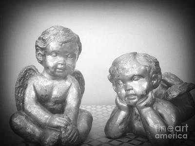 Photograph - Baby Angels Bw by Rachel Hannah