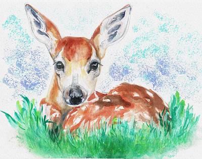 Wall Art - Painting - Baby Bambi by Tarja Stegars