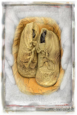 Art Print featuring the photograph Baby Basket Shoes by Craig J Satterlee