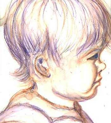 Portrait Of A Baby Drawing - Baby Bear by Janet Doggett