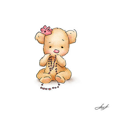 Girls Wall Art Drawing - Baby Bear With Beads by Anna Abramska