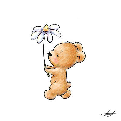 Nursery Decor Digital Art - Baby Bear With Flower by Anna Abramska