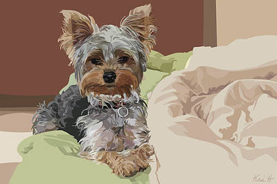 Pet Portrait Digital Art - Baby Bedhead by Kris Hackleman