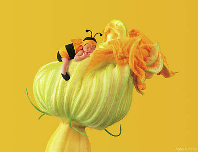 Yellow Photograph - Baby Bee by Anne Geddes