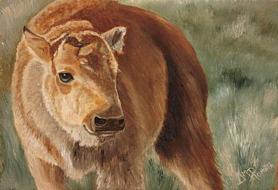 Bison Art Painting - Baby Bison by Angeles M Pomata