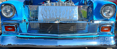 Photograph - baby blue '56 Chevy grill by Mark Spearman