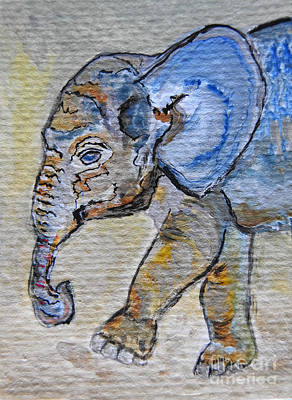 Photograph - Baby Blue Elephant Painting Prints by Ella Kaye Dickey