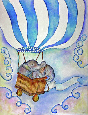 Painting - Baby Blue Elephants by Janet Immordino
