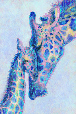 Digital Art - Baby Blue  Giraffes by Jane Schnetlage