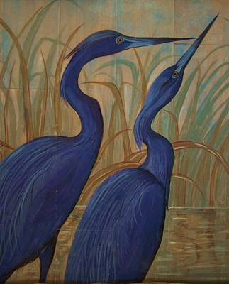 Acrylic On Wood Painting - Baby Blue Herons by Teresa Grace Mock
