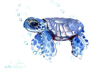 Ocean Turtle Painting - Baby Blue Sea Turtle by Suren Nersisyan