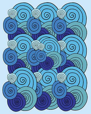 Digital Art - Baby Blue Swirls And Spirals by Irina Sztukowski