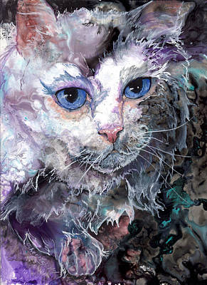 Art Print featuring the painting Baby Blues by Sherry Shipley