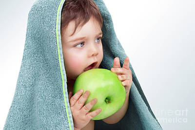 Photograph - Baby Boy Eating Apple by Anna Om