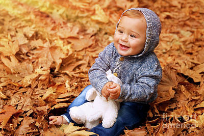 Photograph - Baby Boy In The Autumn Park by Anna Om