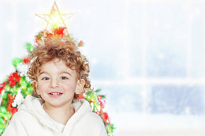 Photograph - Baby Boy Near Christmas Tree by Anna Om