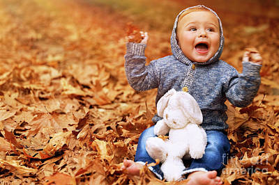 Photograph - Baby Boy Playing In Autumn Park by Anna Om