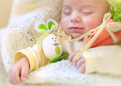 Photograph - Baby Boy With Easter Bunny by Anna Om