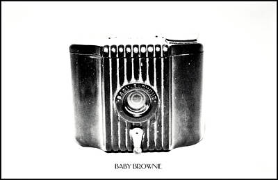 Photograph - Baby Brownie Bw Art Deco Camera by Tony Grider