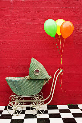 Baby Buggy With Red Wall Print by Garry Gay